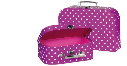 goki 60106 Koffer lila mit weißen Punkten Gepäck-Kindergepäck