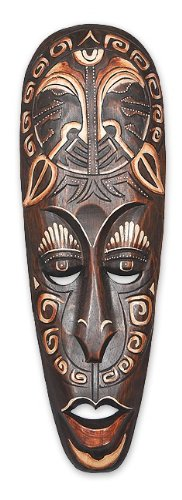 Wanddekoration Maske Senge Kopf 50 cm, Albesia Holz braun, Holzmaske Kunsthandwerk im afrikanischen Stil aus Bali Lombok handgefertigt