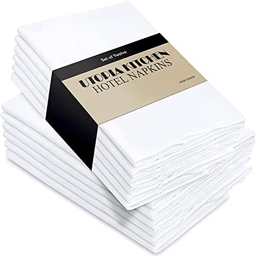 Utopia Kitchen - Dinnerservietten aus Baumwollmischung (12er Pack, 46 x 46 cm) - Weich und bequem - Langlebige Hotelqualität - Ideal für Veranstaltungen und den regelmäßigen Gebrauch zu Hause (Weiß)