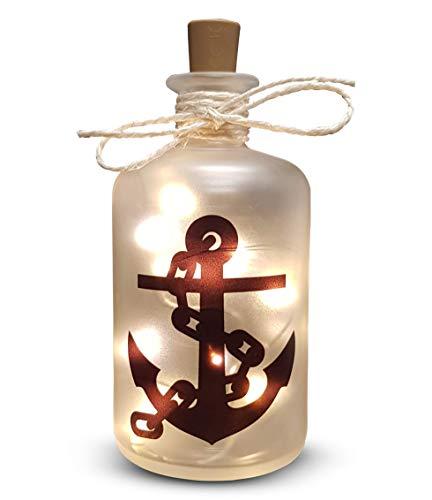 Druckerino LED Flaschenlicht'Ankerkette' Maritime Deko - Lichtflasche - Geschenk - Lichterkette - Anker - Leuchtflasche - Leuchtdeko