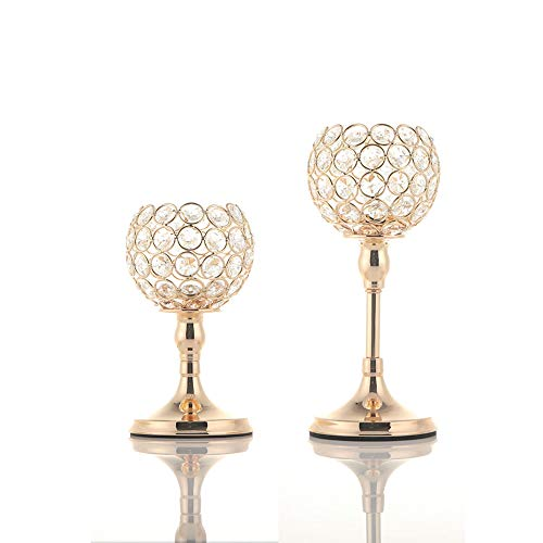 VINCIGANT Kerzenhalter Gold Kristall Kerzenhalter/Kerzenständer Gold 2er Set für Deko Wohnzimmer Hochzeit Tisch Mittelstücke Home Dekor,20cm&25cm Höhe