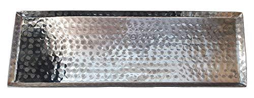 Meinposten. Dekotablett Dekoschale Tablett Schale Silber Metall Deko Tischdeko 45x15 cm