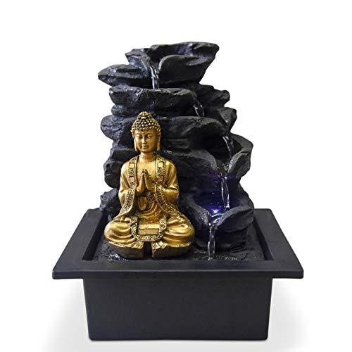 Zen Light Shira Zimmerbrunnen mit Pumpe und LED-Beleuchtung, Kunstharz, Schwarz, Einheitsgröße