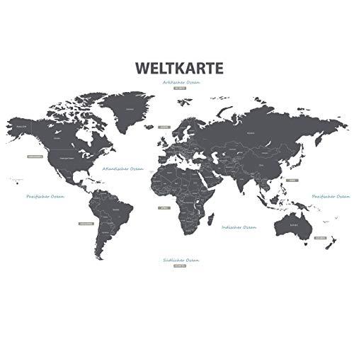 DECOWALL DLT-1609GDE Tedesco Mappa del Mondo Moderno Grigio (Extra Grande) Adesivi da Parete Decorazioni Stickers Murali Soggiorno Asilo Nido Camera Letto per Bambini decalcomanie