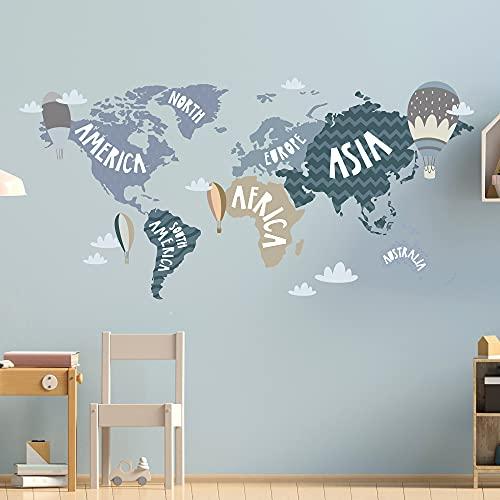 WELTKARTE Wandtattoo Set V248 | handgezeichnet | AUFKLEBER Kindergarten | Wandsticker Kinderzimmer Landkarte Karte Länderkarte Länder Globus (Blau, 100 x 50 cm)