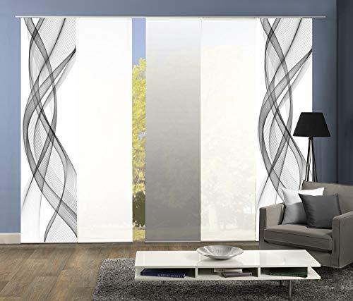 wohnfuehlidee 5er-Set Flächenvorhang, Deko Blickdicht, Mariella, Höhe 245 cm, 2X Dessin grau / 2X Uni weiß Blickdicht / 1x Farbverlauf grau
