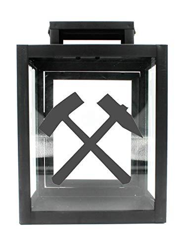 WB wohn trends Metall-Laterne mit Aufdruck, Schlägel und Eisen Bergbau Glück-auf, schwarz, 25x18x13cm, für LED-Kerzen, Farbauswahl möglich