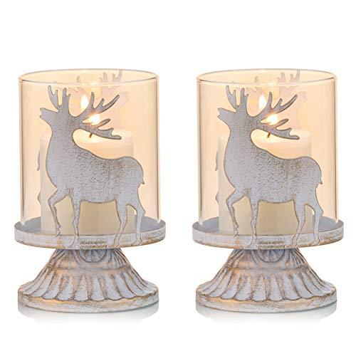 Sziqiqi 2er Set Vintage Kerzenleuchter Kerzenständer Kerzenhalter Windlichthalter aus Metall für Stumpenkerzen, Hurricane Kerzenständer Dekoration für Party Weihnachten Tisch Mantel Kamin, Weiß