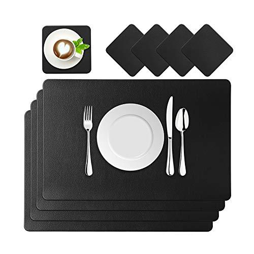BaoWnylz Platzsets Leder Tischset PU Kunstleder Platzdeckchen Schwarz 4er Sets Abwaschbar Wasserdicht 45x30cm und Quadratischer Glasuntersetzer für Hause Küche Restaurant