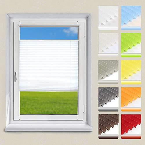 OUBO Plissee ohne Bohren Klemmfix, Weiß 35x120cm (BXH), Jalousie Easyfix Faltrollo mit Klemmträger Sonnenschutz und Sichtschutz lichtdurchlässig Rollo für Fenster & Tür