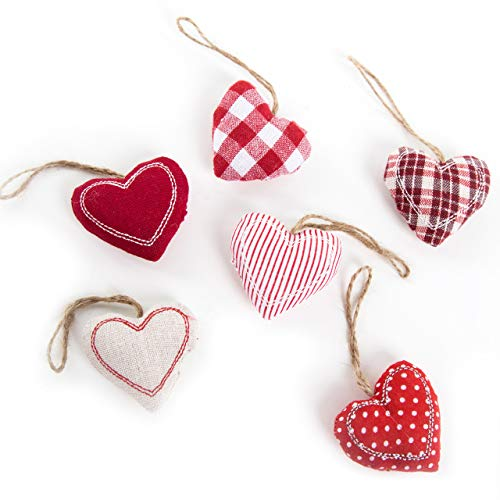 Logbuch-Verlag 6 kleine Herz Anhänger rot weiß Stoffherzen mit Schnur Hochzeitsdeko Weihnachtsdeko Geschenkanhänger Muttertag Valentinstag Christbaumschmuck