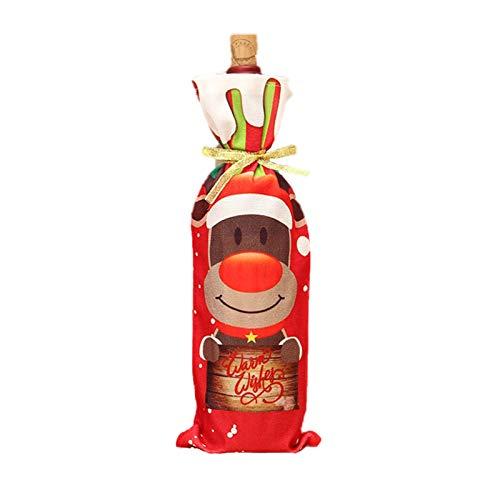 Decdeal Weihnachten Wein Flaschenverschlüsse/Taschen Flaschen Deko Stoff Weihnachtsmann Schneemann Rentier Kordelzug Taschen Weihnachtsdekor Geschenk