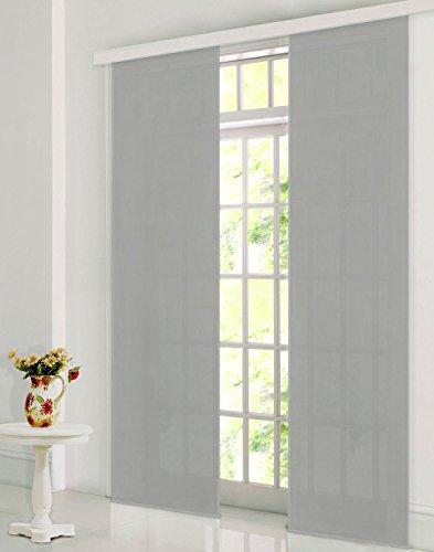 Gardinenbox Flächenvorhang, Schiebegardine Blickdicht matt, Grau, aus Micro Satin (Mikrofaser Gewebe), mit Paneelwagen und Beschwerungsstange -85600-, 85600