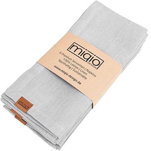 Miqio® Design - Premium Leinenservietten   100% Leinen aus Frankreich   Marken Label aus echtem Leder   6er Set Servietten   waschbar bei 60°  Stoffservietten (hellgrau)…