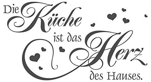 dekodino® Wandtattoo Spruch Die Küche ist das Herz des Hauses Wanddeko