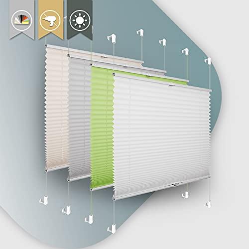 Plissee ohne Bohren klemmfix Jalousie Sonnenschutz Easyfix Faltrollo Crushed Optik Lichtdurchlässig Rollo für Fenster & Tür Weiß 90x100cm(BXH)