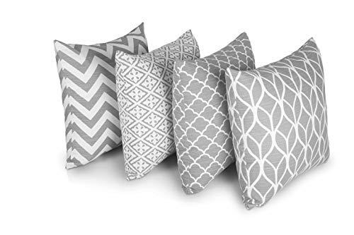 Penguin Home® Dekorative doppelseitige quadratische Kissenbezüge, 100% Baumwolle, 45x45cm Stilvolles geometrisches Muster für Wohnzimmer, Schlafzimmer, Sofa, Couch (4er Set, Grau), 45x45 Cm