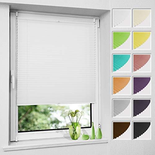 Plissee Klemmfix ohne Bohren, Weiß 70 x 200 cm (BxH), Faltrollo Plisseerollo mit Klemmträger, Jalousie Rollos für Fenster und Tür, Sichtschutz und Sonnenschutz