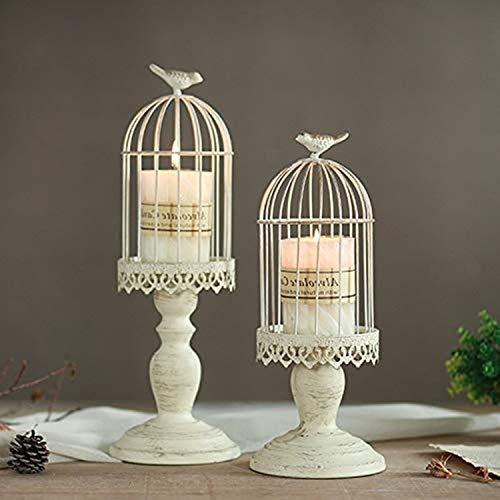 Sziqiqi Vintage Vogelkäfig Kerzenleuchter, Dekoration Kerzenhalter für Hochzeit und Esstisch, Kerzenständer aus Eisen mit Schnitzfiguren, Elfenbein