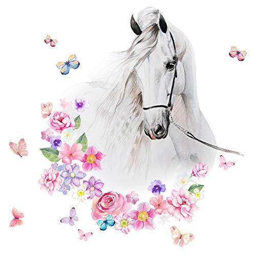 Little Deco Wandtattoo Pferdekopf mit Blumen & Schmetterlingen I M - 37 x 42 cm (BxH) I Kinderzimmer Babyzimmer Kinder Aufkleber Wandaufkleber Wandsticker DL464