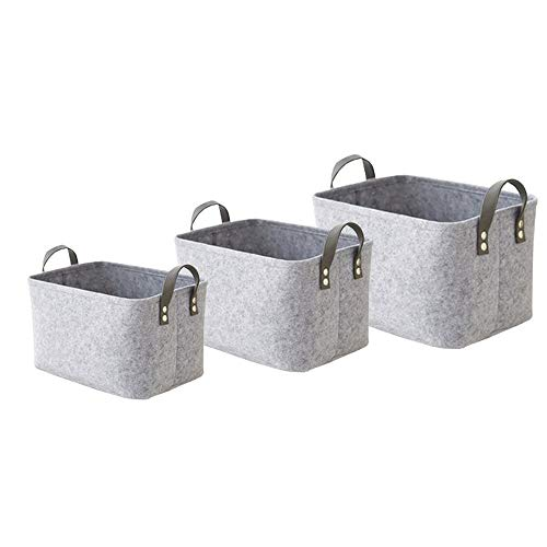 KtdaysB 3 Stück Filz Korb Aufbewahrungsboxen mit Zwei weichen Griffen langlebig Faltbare Wäschekorb Aufbewahrungskorb für Wäsche, Schrank, Bad, Schlafzimmer, Spielzeug (grau)