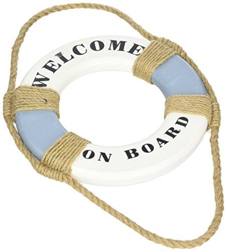 HEITMANN DECO 'Welcome on Board Rettungsring zur Dekoration - Maritime Deko zum Aufhängen - Wanddeko - Blau, Weiß