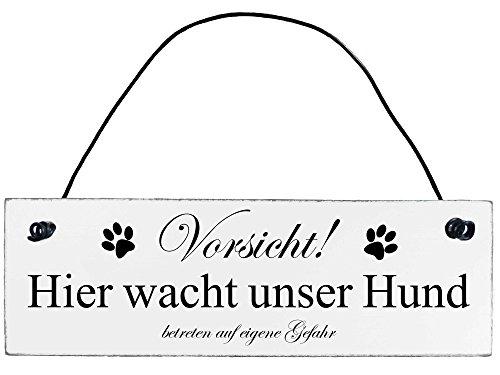 Anika Hermsen-Grallert, HomeYourself Shabby Chic Vintage Schild Vorsicht Hier wacht unser Hund Dekoschild Türschild