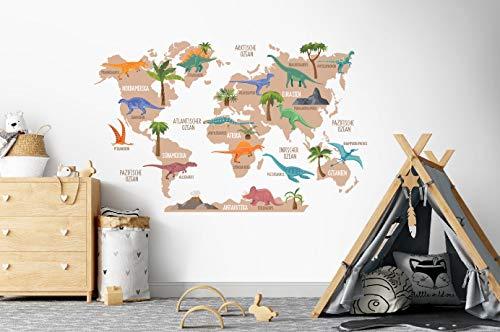 Osomhome Wandtattoo Weltkarte Dinosauriere Kinderbilder Junge Kinderzimmer Mädchen Aufkleber os5035 (160 x 100 cm)