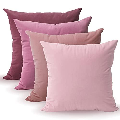Tayis 4er Set Rosa Kissenbezüge 45x45cm,Kissenhülle Dekorative Sofakissen Couchkissen Dekokissen mit Verstecktem Reißverschluss für Wohnzimmer,Sofa,Schlafzimmer