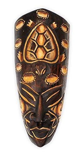 Wanddekoration Maske Holzmaske mit Schildkröte Motiv 20 cm, Holz braun weiß, Kunsthandwerk Bali Lombok Dekomaske im afrikanischen Stil