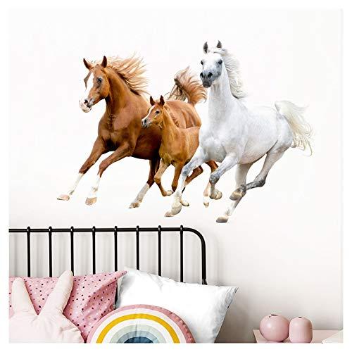 Little Deco Wandaufkleber Pferde I M - 55 x 38 cm (BxH) I Wandsticker Pony Wandtattoo Mädchen Kinderzimmer Deko Bild Sticker Ross Aufkleber Rösser DL475