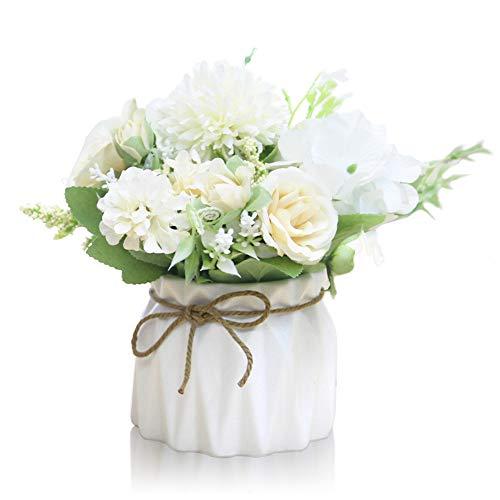 Keleily Hortensien Kunstblumen mit Keramikvase Künstliche Blumen im Topf Rosen Seidenblumen Blumenstrauß Künstlich mit Vase für Hochzeit, Büro, Tisch, Fenster, Wohnzimmer, Schlafzimmer, Party, Weiß