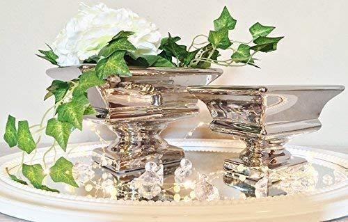 DRULINE Keramik Dekoschale Schale Tisch Deko Hochglanz Keramikschale Silber Shabby Chic (2er-Set (1 x Klein + 1 x Groß))
