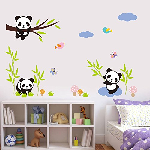 Wallpark Karikatur Lieblich Niedlich Panda Essen Bambus Abnehmbare Wandsticker Wandtattoo, Kinder Kids Baby Hause Kinderzimmer DIY Dekorativ Kunst Wandaufkleber