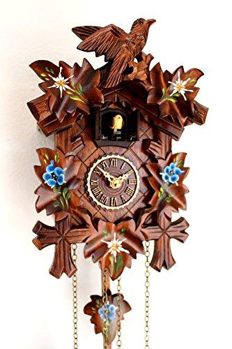 CLOCKVILLA HETTICH-UHREN Schwarzwälder Kuckucksuhr geschnitzt Quarz Uhr mit Edelweiss Enzian bemalt