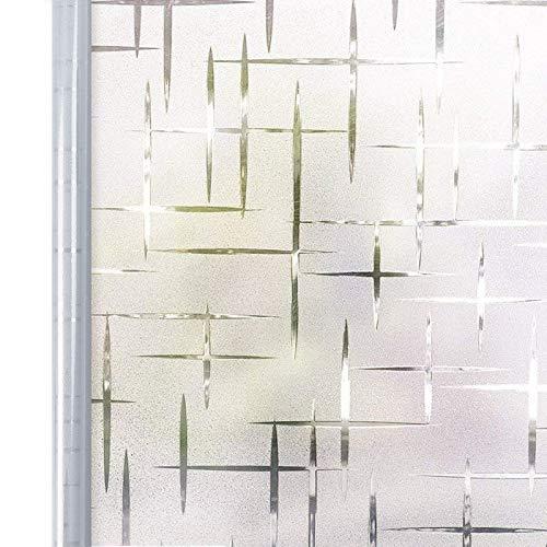 Homein Fensterfolie Selbsthaftend 90x200 cm, Selbstklebend Milchglasfolie Bad Folie für Duschkabine Milchglas Blickdicht Sichtschutzfolie Statisch Haftend Glastüren Badfenster Sterne Kreuz