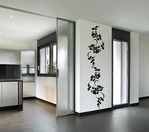 wandmotiv24 Wandtattoo Blumenranke Hibiskus Wandaufkleber modern, Dekoration für Ihre Wohnung, Wohnzimmer-Deko Blume, Wanddeko (Größe HxB: 175 x 37 cm)