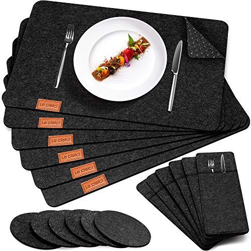 Le cielci® Tischset Filz Anthrazit   18er Set - 6 Platzsets, Glasuntersetzer, Bestecktaschen   rutschfest Abwaschbar Tischsets   Filzmatte Platzdeckchen abwischbar   Platzset für Zuhause Restaurant