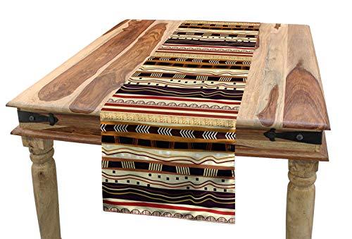 ABAKUHAUS Stammes Tischläufer, Afrikanische Pfeilmotive, Esszimmer Küche Rechteckiger Dekorativer Tischläufer, 40 x 180 cm, Mehrfarbig