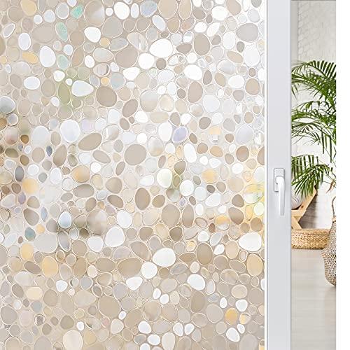 rabbitgoo Fensterfolie 3D Folie für Fenster Dekorfolie Sichtschutzfolie Statisch Glasfolie Selbsthaftend Anti-UV Stein 90 x 200 cm