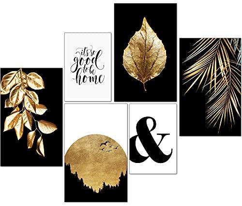 artpin® Moderne Poster Set - Bilder Wohnzimmer Deko Gold Schlafzimmer - Goldene Blätter Palmblatt 4X A4   2X A5 - W7