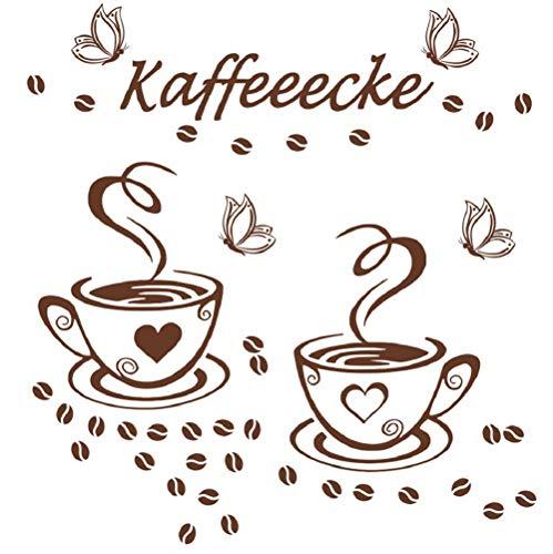 WandSticker4U®- 2 KAFFEE TASSEN + 4 Schmetterlinge in Braun I selbstklebend Wandtattoo Spruch Kaffeeecke Wandaufkleber Coffee Becher Bohnen Herz I Wand Deko für Küche Fliesen Esszimmer Café