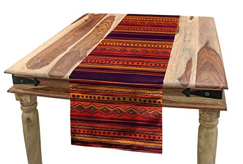 ABAKUHAUS Orange Tischläufer, Abstraktes Ethno-Gekritzel, Esszimmer Küche Rechteckiger Dekorativer Tischläufer, 40 x 180 cm, Orange Pflaume Rot