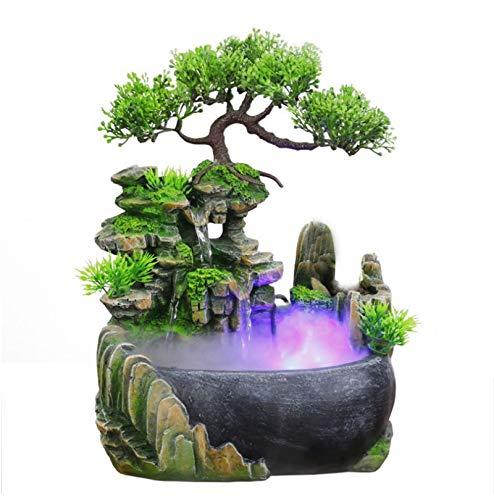 Trintion Zimmerbrunnen LED Tisch Zimmer Wasser Farbwechsel Springbrunnen Wasserspiel Nebel Befeuchtung Anwendung Gelegenheiten Schlafzimmer Wohnzimmer Studie
