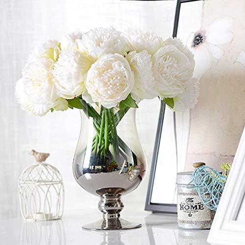 Decpro 2 Bündel künstliche Pfingstrosen, 10 Köpfe Seide Pfingstrose gefälschte Blume für Hochzeit Home Office Party Hotel Dekoration, Blumenarrangements(Creme Weiß)