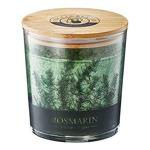 Kerze im Kräuterglas mit Bambusdeckel duftet herb nach Rosmarin 9 cm hoch