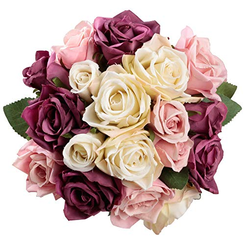 Famibay Rosen Künstliche Blumen 2 Blumenstrauß Blumenschmuck für Haus Gefälschte Blumen Braut Hochzeitsblumenstrauß 18 Rosen Köpfe für Haus Garten(Lila mit Champagner)