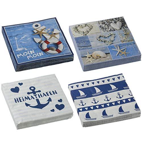 Bada Bing 4er Set Servietten Maritim Heimathafen Schriftzug Motiv Meer 80 Stück Papierservietten Spruch Weiß Blau 4-Fach Sortiert Tisch Deko 19