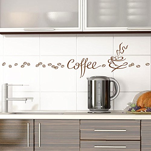 Grandora Wandtattoo Coffee Kaffee Tasse Kaffeebohnen I braun Kreativset I Esszimmer Kaffeeecke Küche Aufkleber Wandaufkleber Wandsticker Sticker 1045W