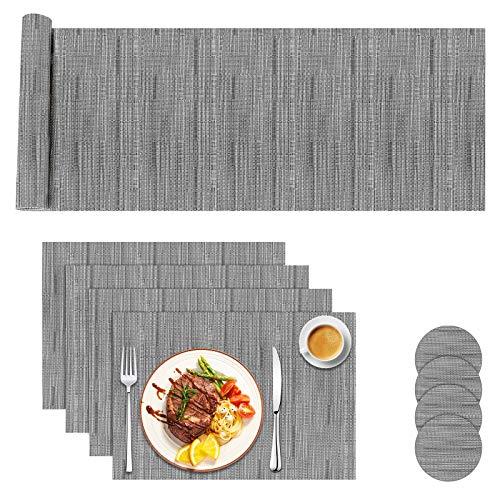 Aiglam Tischset,Platzdeckchen Abwaschbar rutschfest PVC Abgrifffeste Hitzebeständig Platzdeckchen Set von 4 (44 x 30cm) und Tischläufer 135 und Untersetzer Set von 4 für Küche - Grau